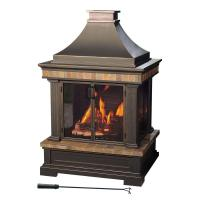 Sunjoy Amherst 35 in. Wood-Burning Outdoor Fireplace-L ...
