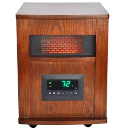 lifesmart 1500 watt 6 element infrared room heater with oak cabinet and remote [ 1000 x 1000 Pixel ]