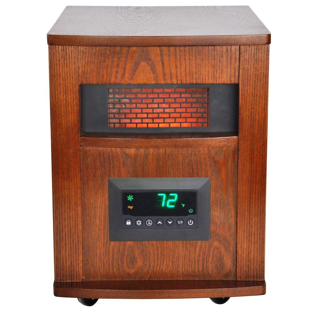 medium resolution of lifesmart 1500 watt 6 element infrared room heater with oak cabinet and remote