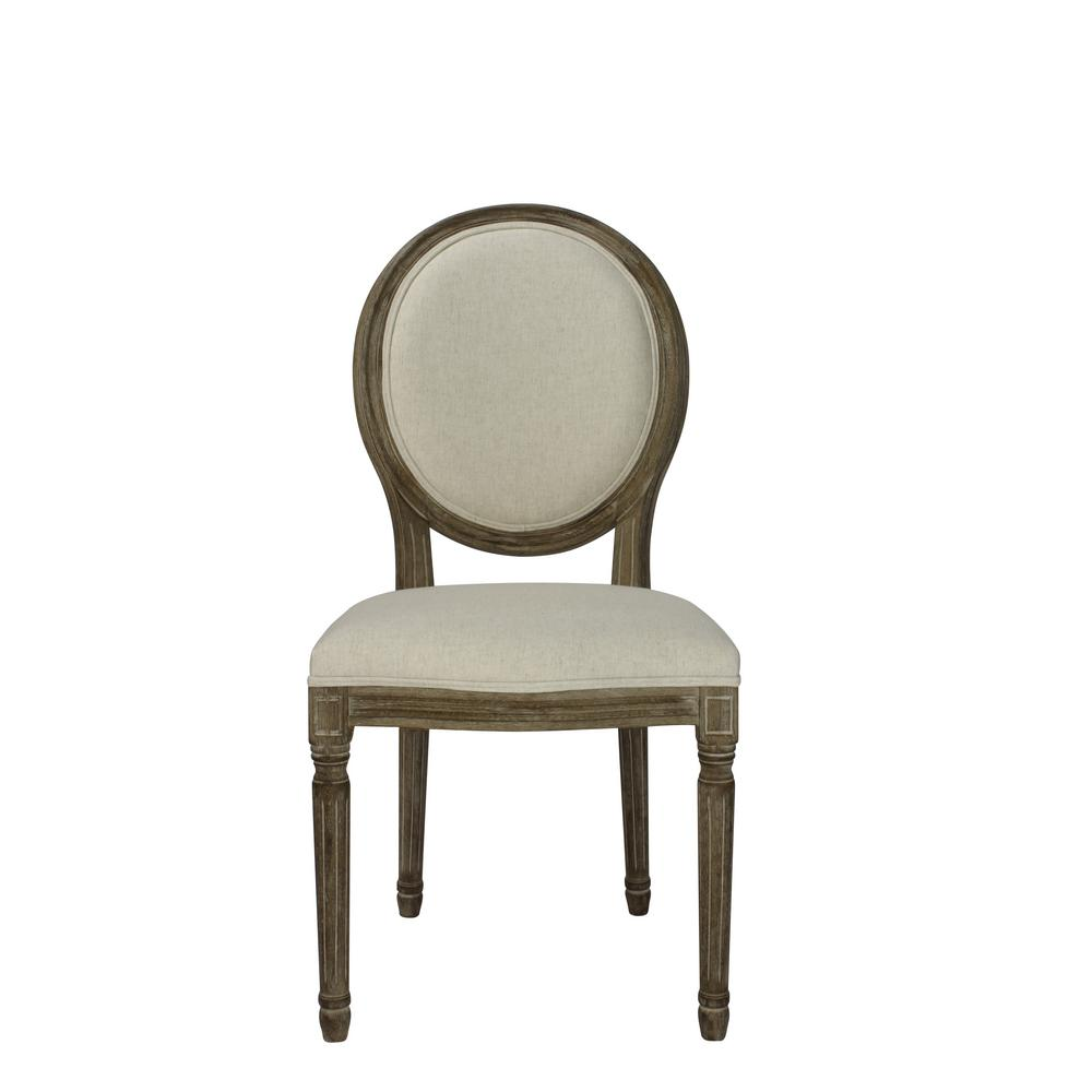 dining chair with armrest ghost clear lux home louis beige wooden round back set of 2 dwc
