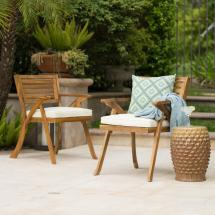Noble House Hermosa Teak Removable Cushions Wood Outdoor