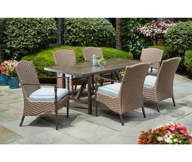 Home Decorators Collection Bolingbrook  Piece Wicker Outdoor Patio Dining Set With Sunbrella Spectrum Mist Cushions D Pc The Home Depot