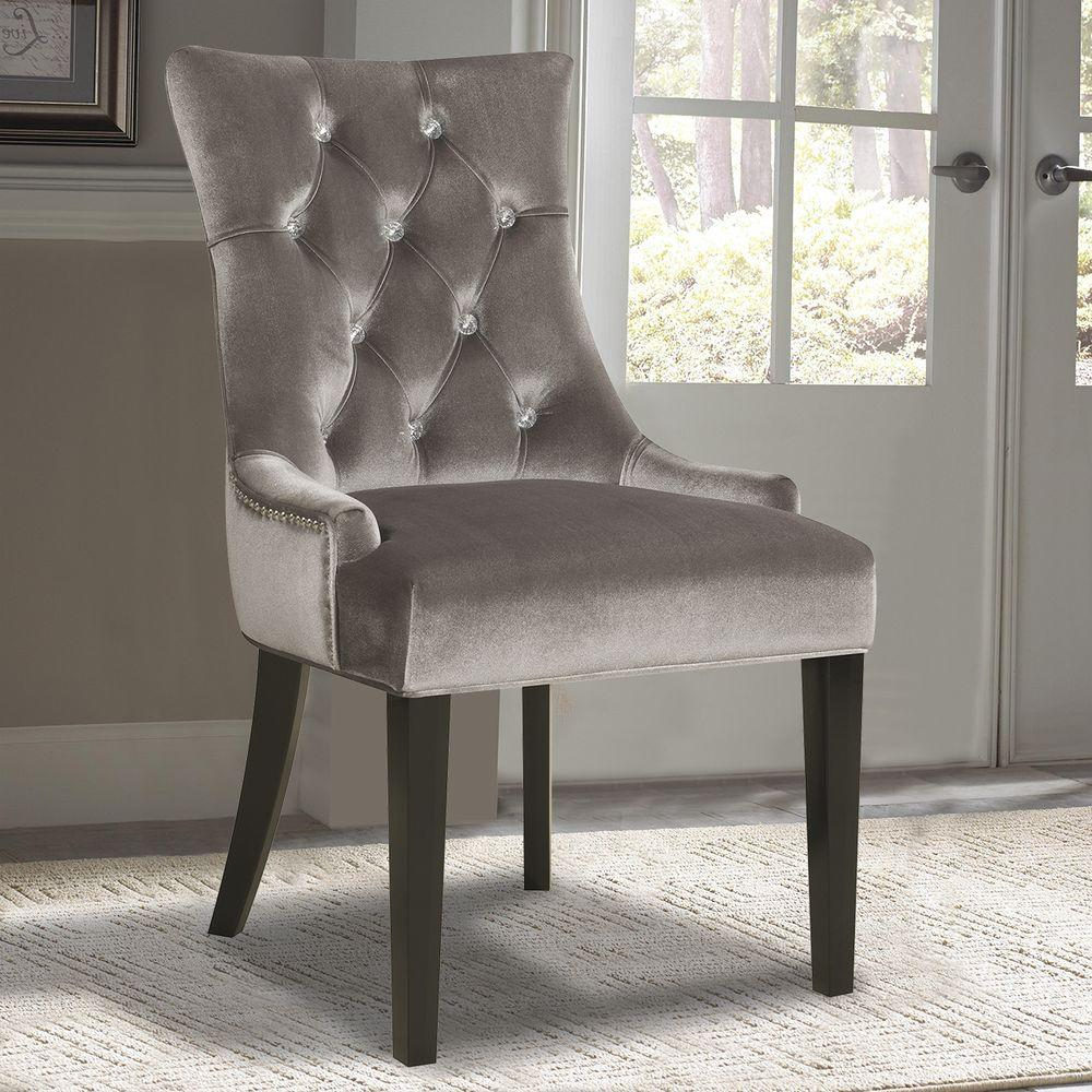 gray dining chair office fabric pulaski furniture chrome velvet ds 2514 900 204 the