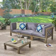 Noble House Hadlee Gray 4-piece Wood Outdoor Sofa Set With