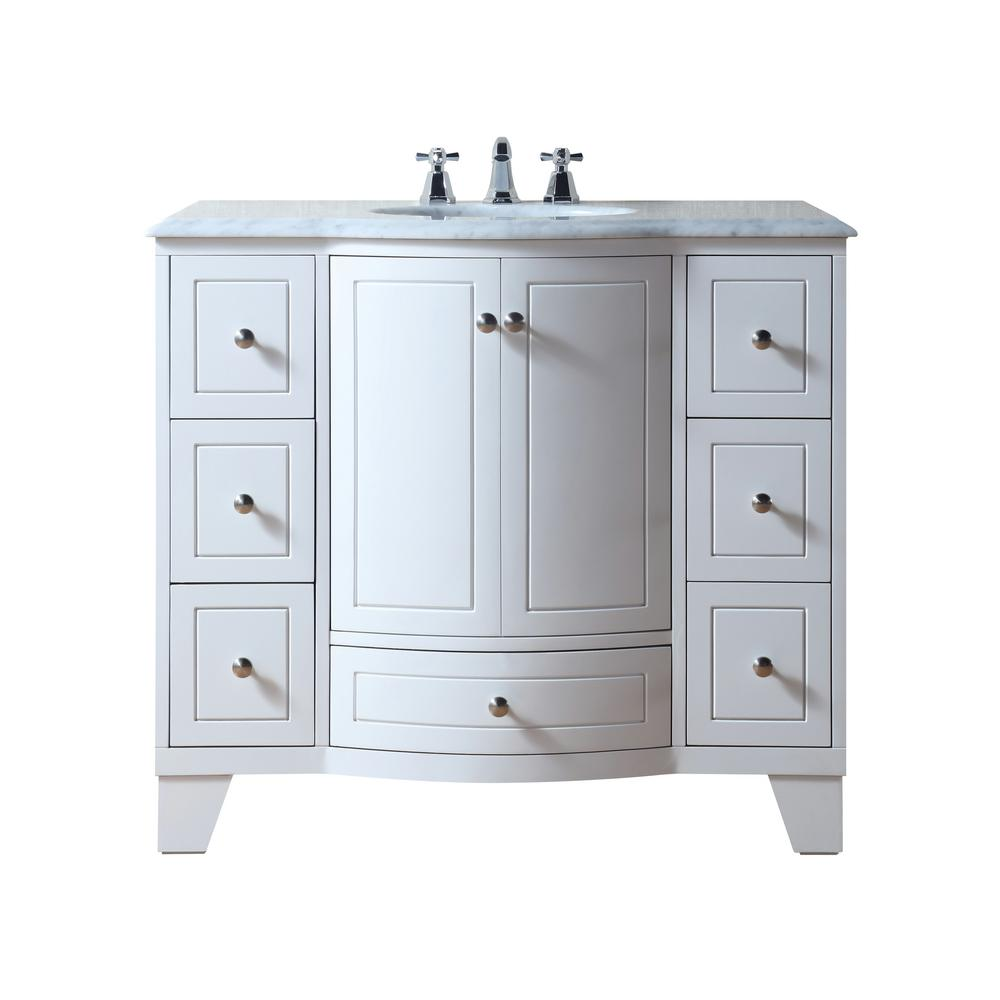 stufurhome Grand Cheswick 40 in Bath Vanity in White with