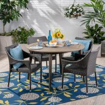 Noble House Donatella Gray 5-piece Wood And Wicker Outdoor