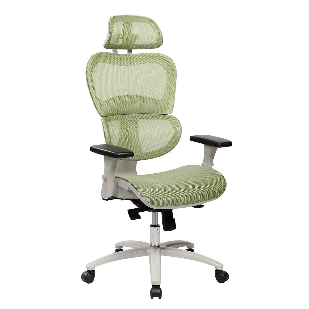 mesh back chairs for office boston interiors chair and a half techni mobili green high executive with neck support