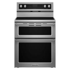 Kitchen Aid Ovens Memory Foam Mats Kitchenaid 6 7 Cu Ft Double Oven Electric Range With Self Cleaning Convection