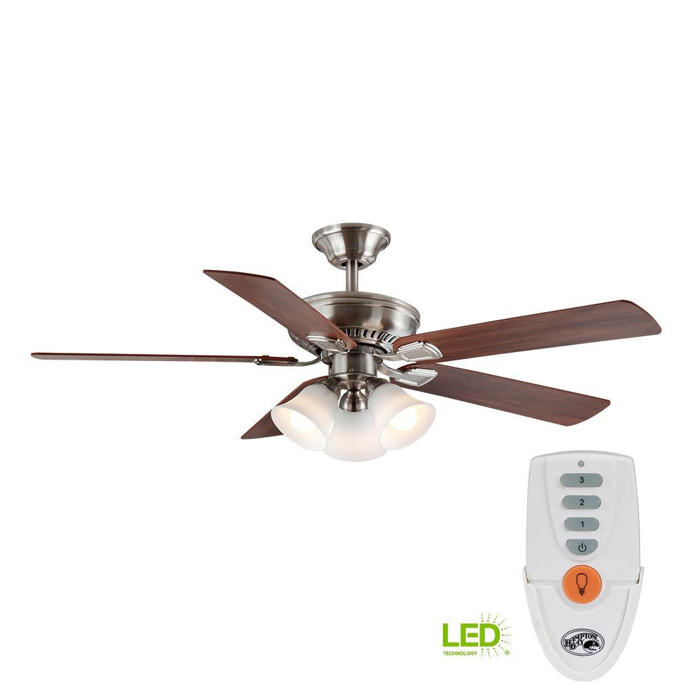 medium resolution of led indoor brushed nickel ceiling fan with light kit and remote control