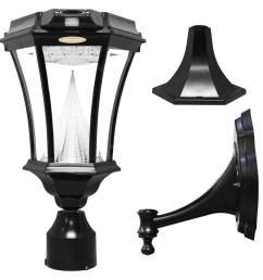 gama sonic victorian single black integrated led outdoor solar lamp with 3 mounting options and [ 1000 x 1000 Pixel ]