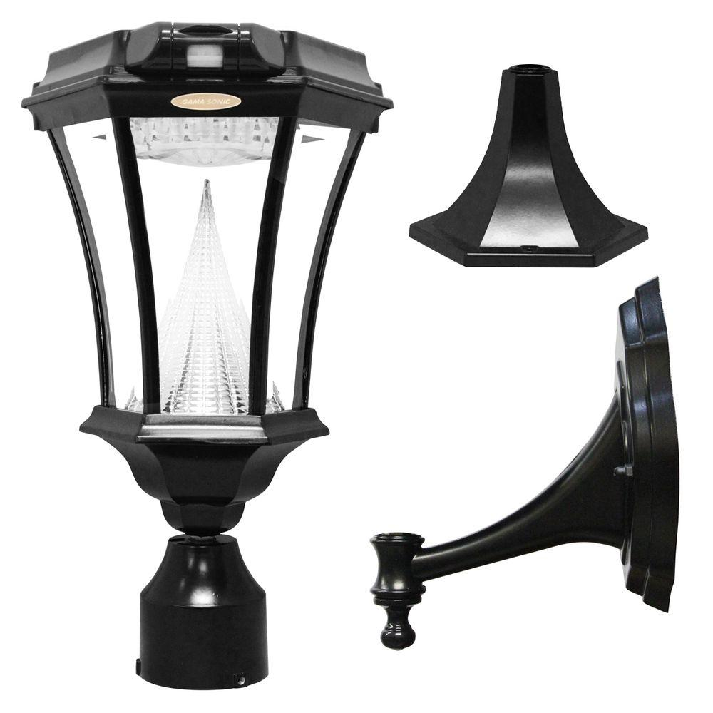hight resolution of gama sonic victorian single black integrated led outdoor solar lamp with 3 mounting options and