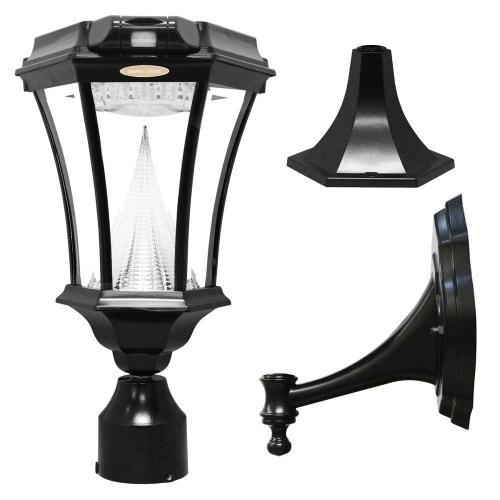 small resolution of gama sonic victorian single black integrated led outdoor solar lamp with 3 mounting options and