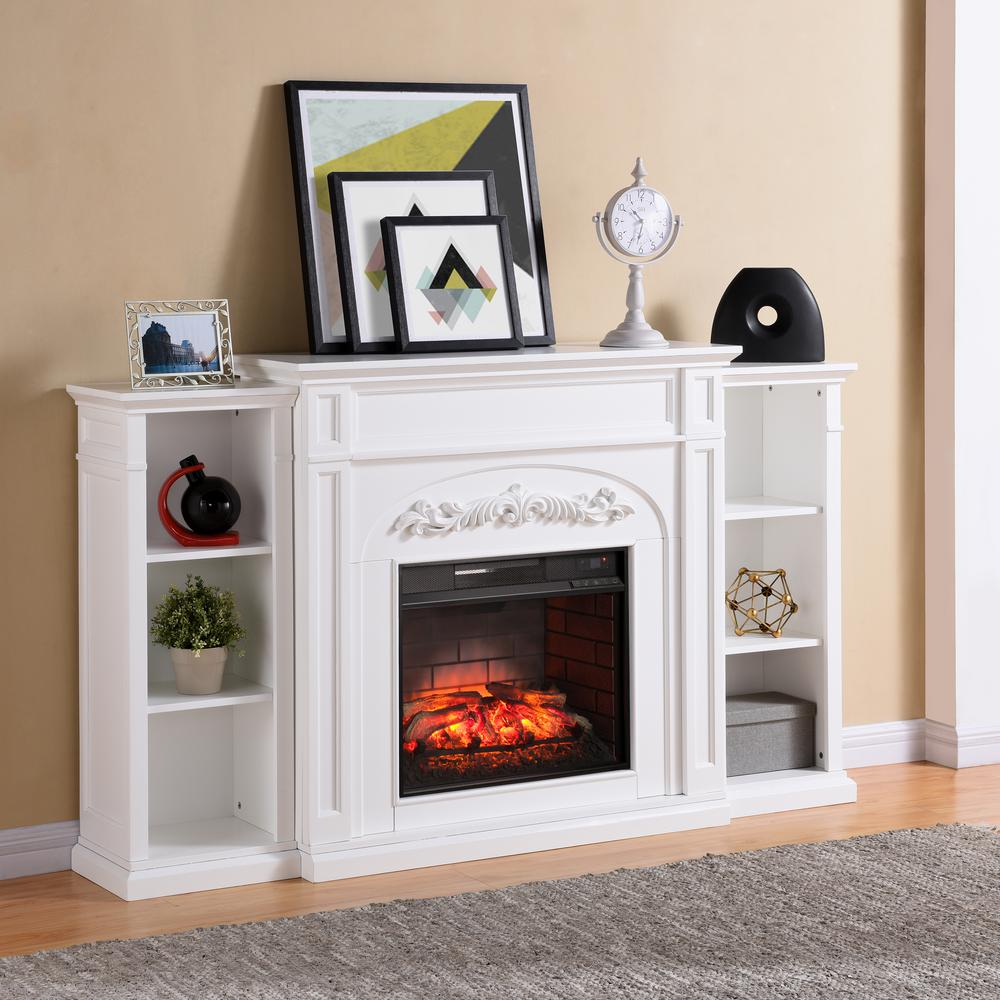 Southern Enterprises Binghamton 725 in W Bookcase Infrared Electric Fireplace in White