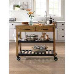 Crosley Kitchen Cart Stone Roots Rack Industrial Natural 3 In