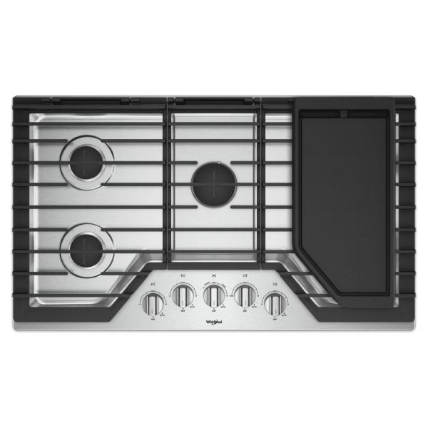 Whirlpool 36 In. Gas Cooktop In Stainless Steel With 5