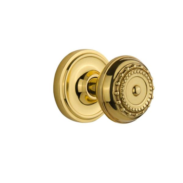 Nostalgic Warehouse Classic Rosette 2-3 4 In. Backset Polished Brass Passage Hall Closet Meadows
