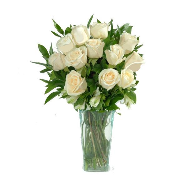 White Rose Bouquet in Vase