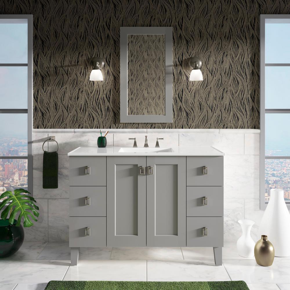 kohler poplin 48 in w vanity in mohair grey with marble vanity top in carrara