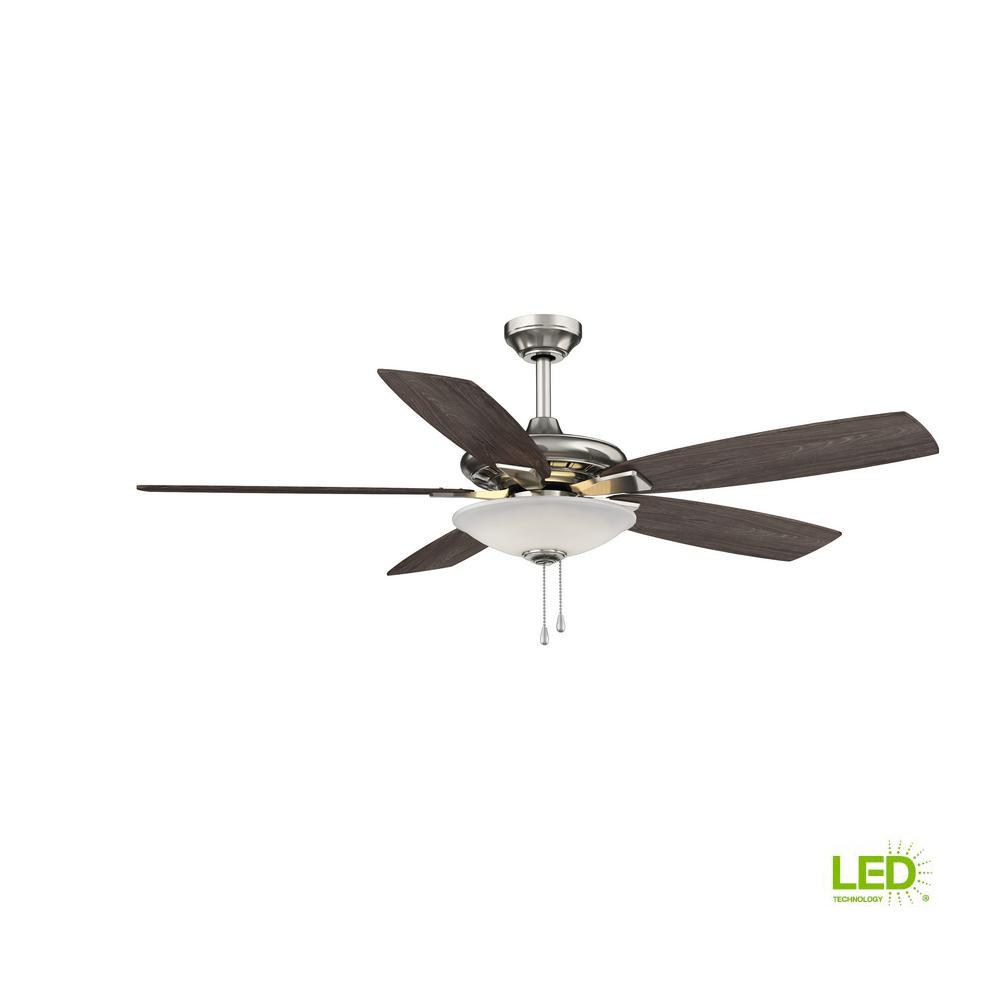 hight resolution of hampton bay menage 52 in integrated led indoor low profile brushed nickel ceiling fan with