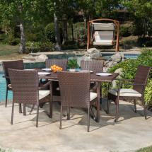 Noble House Thompson Multi-brown 7-piece Wicker Outdoor