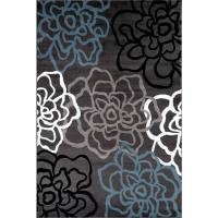 Contemporary Modern Floral Flowers Gray 9 ft. x 12 ft ...