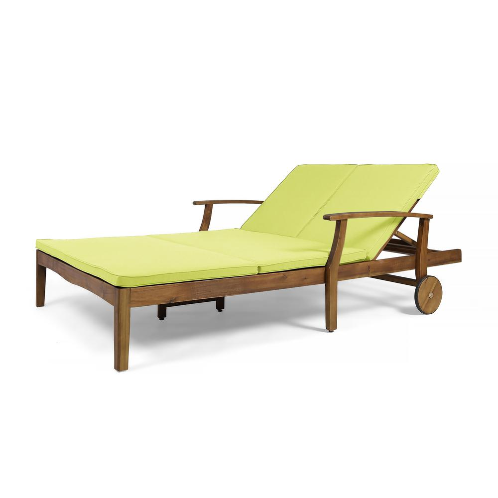 noble house perla teak brown 1 piece wood outdoor double chaise lounge with green cushions 55101 the home depot