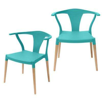 turquoise accent chairs swivel chair made in usa the home depot icon series modern dining arm with beech wood legs set of 2