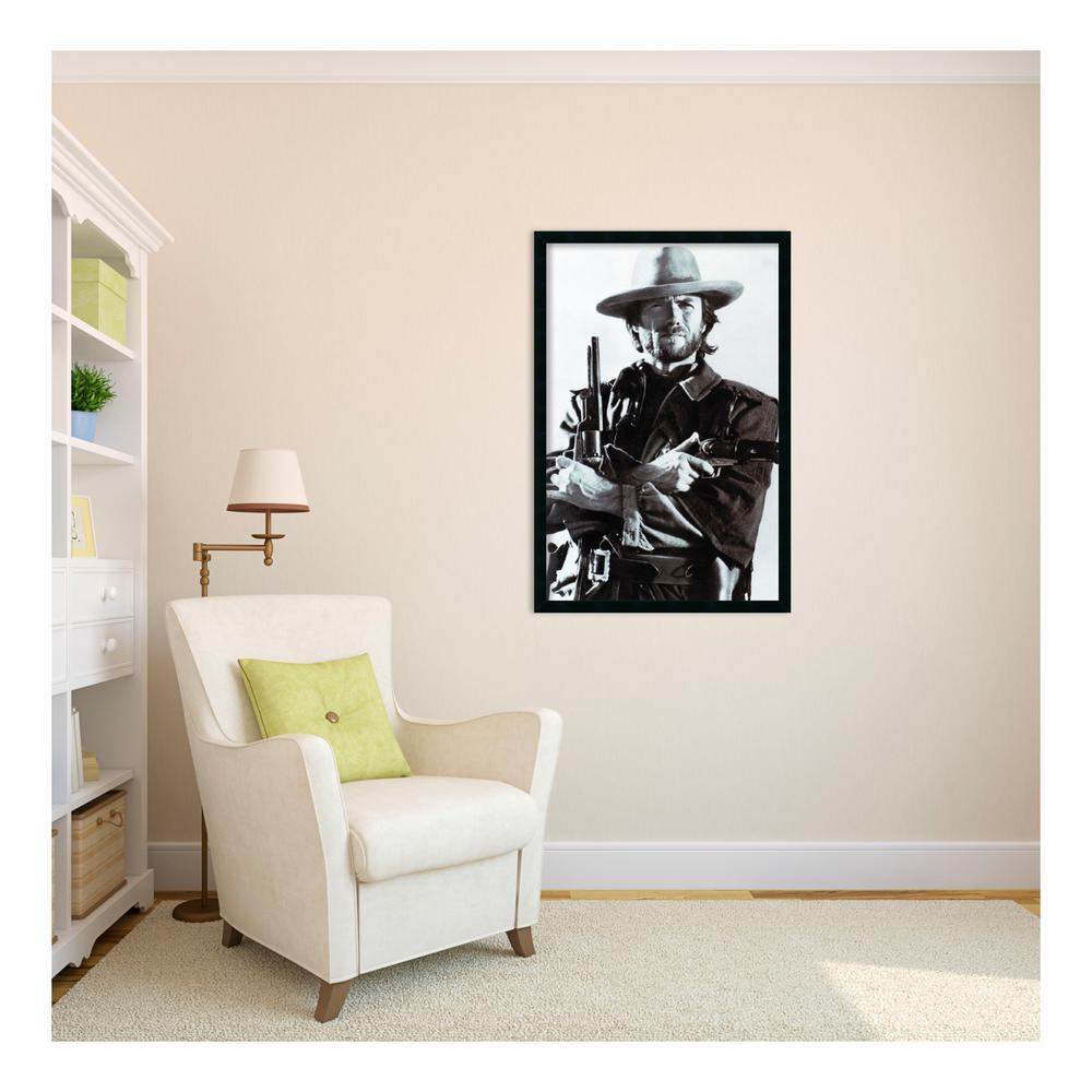 framed artwork for living room small with stairs ideas amanti art 26 in x 38 outer size clint eastwood print