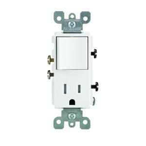 Leviton Decora 15 Amp Tamper Resistant Combo Switch and Outlet, WhiteR62T56250WS  The Home Depot