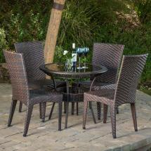Noble House Josh Multi-brown 5-piece Wicker Outdoor Dining