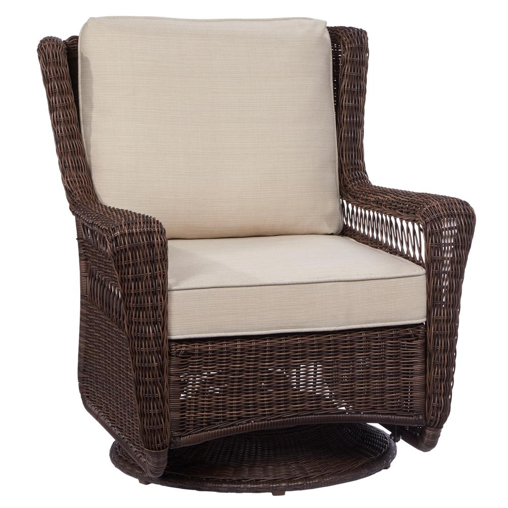 Swivel Rocking Chairs Hampton Bay Park Meadows Brown Swivel Rocking Wicker Outdoor Lounge Chair With Beige Cushion