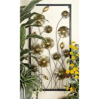 Iron Gold and Black Framed Flowers and Buds Triptych Metal ...