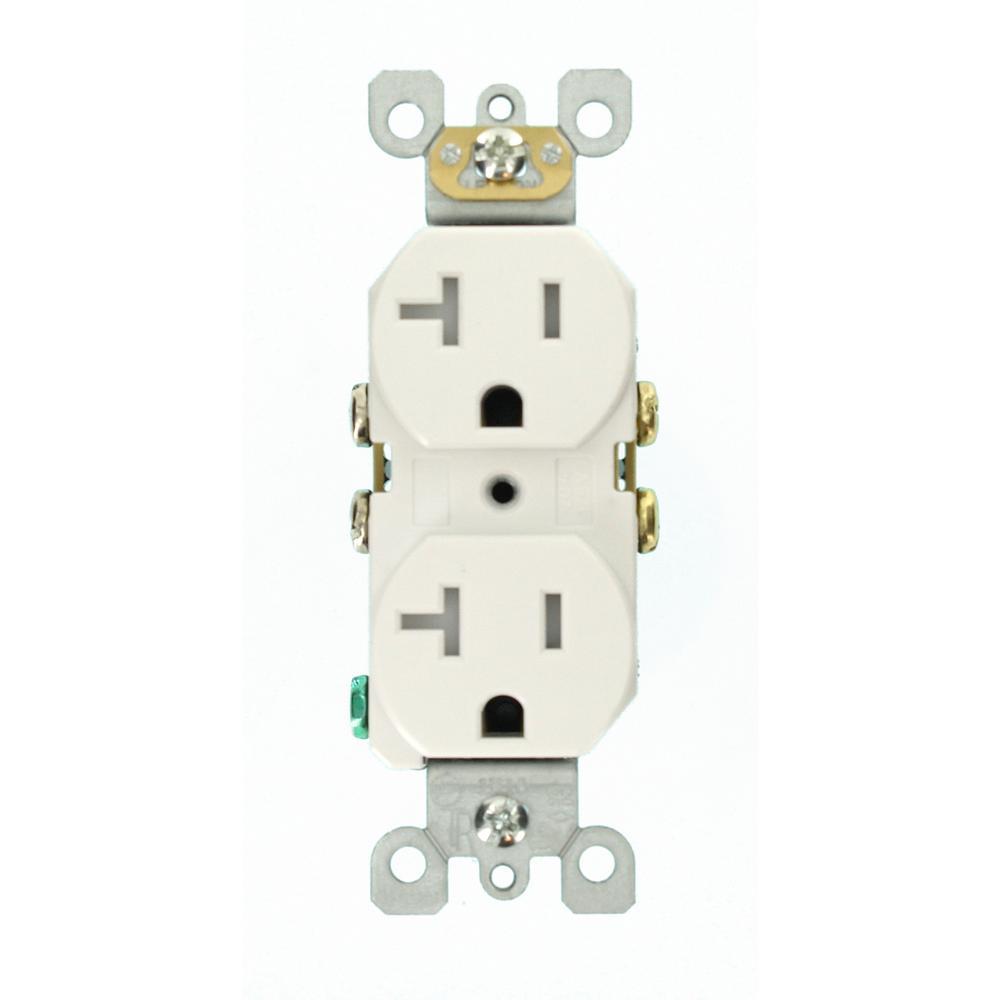 medium resolution of leviton 20 amp residential grade self grounding tamper resistant duplex outlet white