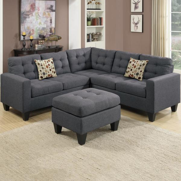 milan 5 piece blue gray fabric 4 seater l shaped modular sectional sofa with ottoman