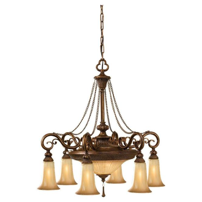 8 Light Bronze Single Tier Chandelier With Glass Shade