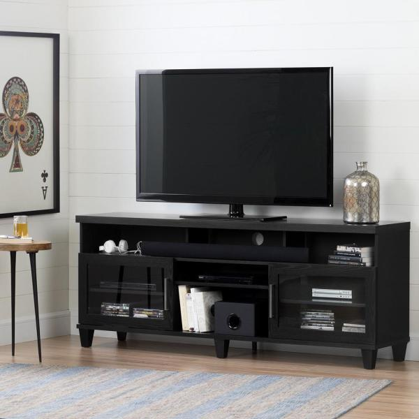 South Shore Adrian Black Oak Tv Stand Tvs 75 In.-10563 - Home Depot