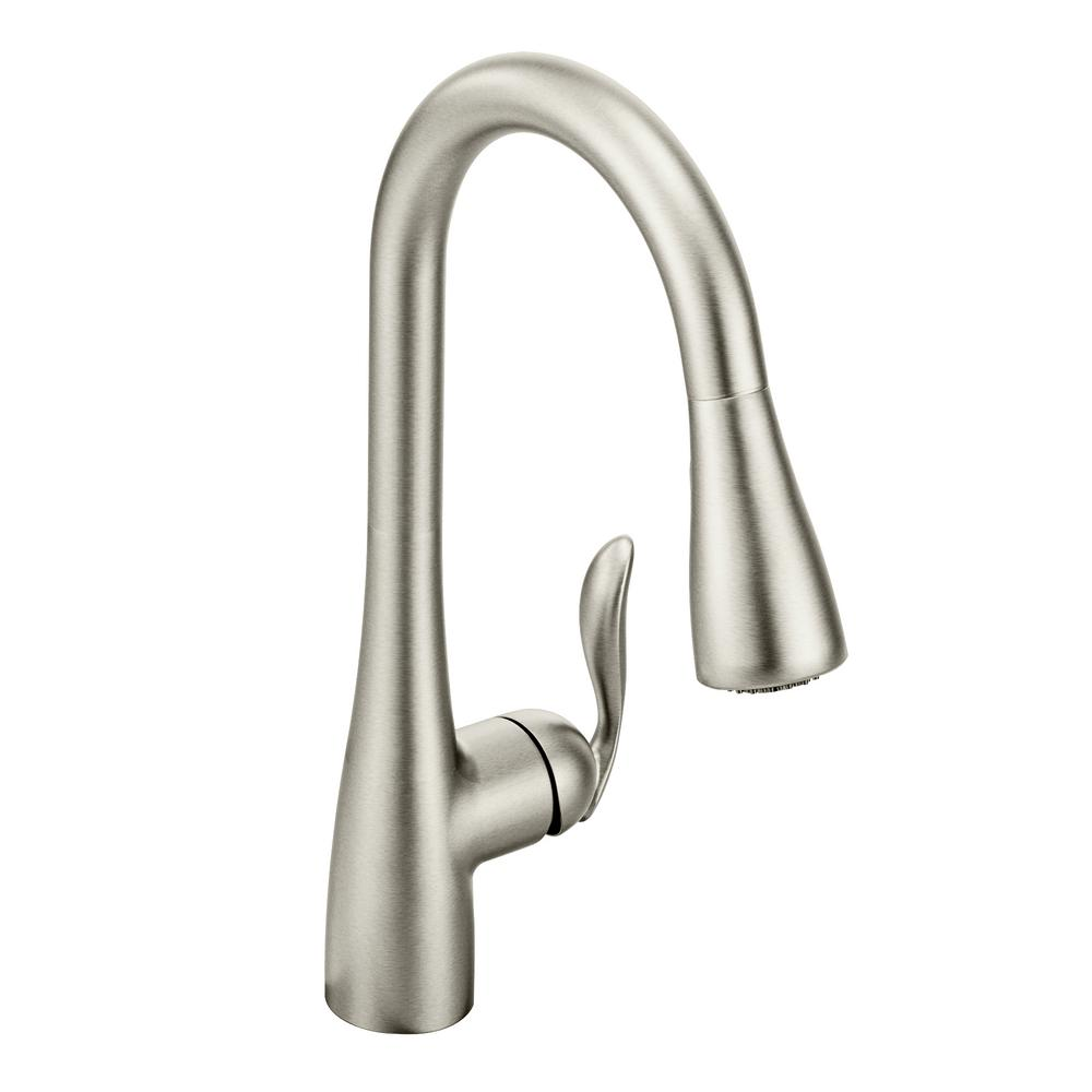 moen pull down kitchen faucet color paint cabinets arbor single handle sprayer with power boost in spot resist stainless