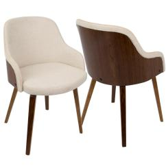 Accent Dining Chairs Crate And Barrel Chair A Half Lumisource Bacci Mid Century Modern Walnut Cream Fabric In Wood