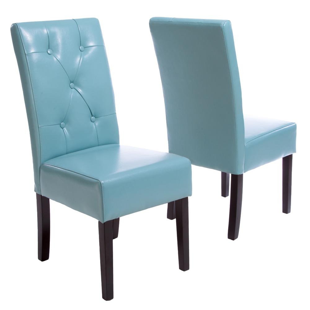 teal colored chairs bedroom chair pepperfry noble house taylor blue bonded leather dining set of 2 214522 the home depot