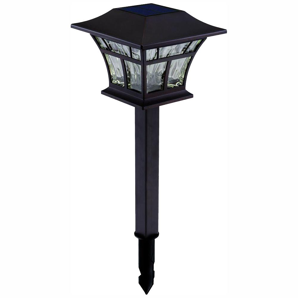 Solar Mediterranean Bronze Outdoor Integrated Led Landscape Path Light With Hammered Gl S  Pack
