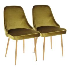 Gold Dining Chairs Pastel Table And Lumisource Green Marcel Velvet Chair Set Of 2 Dc Marcl Au Gn2 The Home Depot