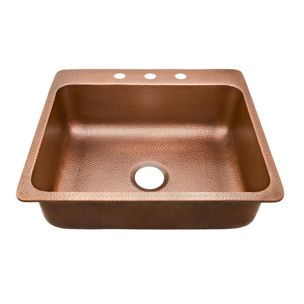 copper kitchen sink cheap valances for sinkology rosa drop in 25 3 hole single bowl