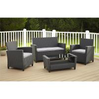 Cosco Malmo 4-Piece Black Resin Wicker Patio Conversation ...