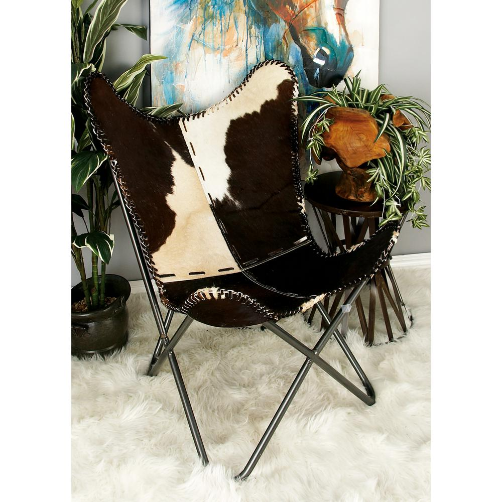 Western Chairs Litton Lane Western Brown And White Leather Metal Chair 94987