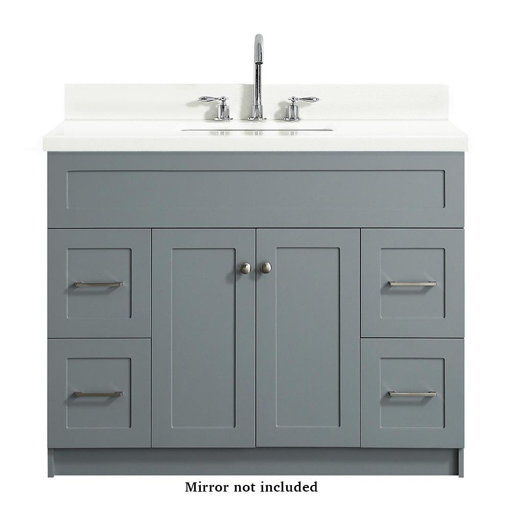 Ariel Hamlet 43 In Bath Vanity In Grey With Quartz Vanity Top In White With White Basin F043s Wq Vo Gry The Home Depot