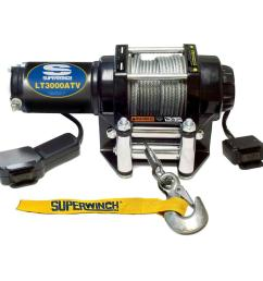 superwinch lt3000 12 volt atv winch with 4 way roller fairlead and 12 ft [ 1000 x 1000 Pixel ]