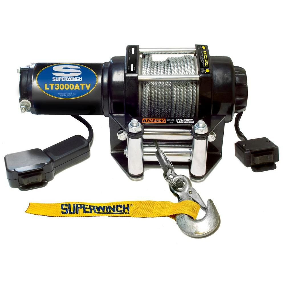 medium resolution of superwinch lt3000 12 volt atv winch with 4 way roller fairlead and 12 ft