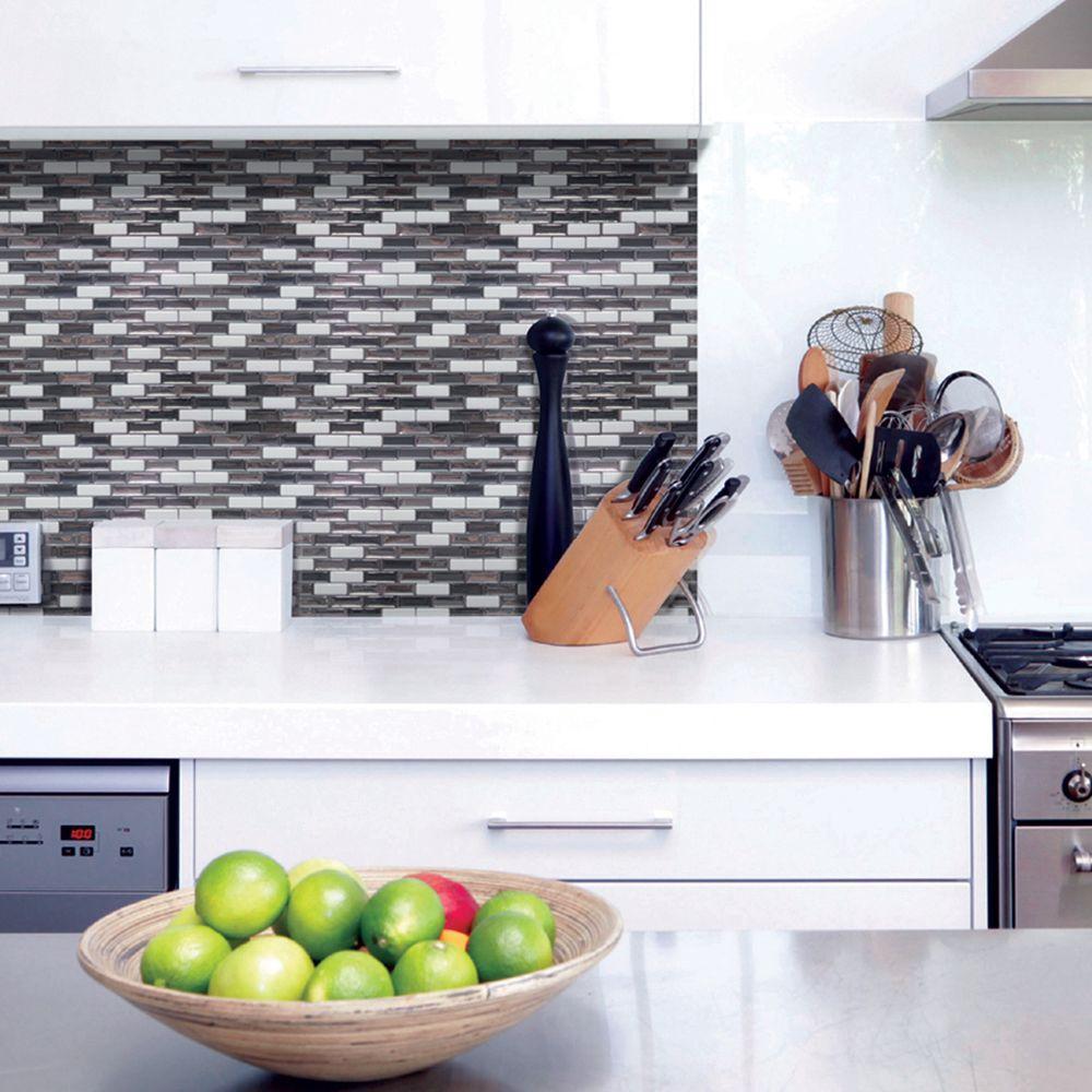 stick on backsplash tiles for kitchen skinny cabinet smart murano metallik 10 20 in w x 9 h peel and