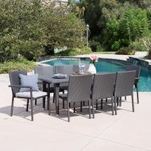 Noble House Gray 9-piece Wicker Rectangular Outdoor Dining