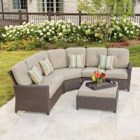 Hampton Bay Tacana 4-Piece Wicker Patio Sectional Set with ...